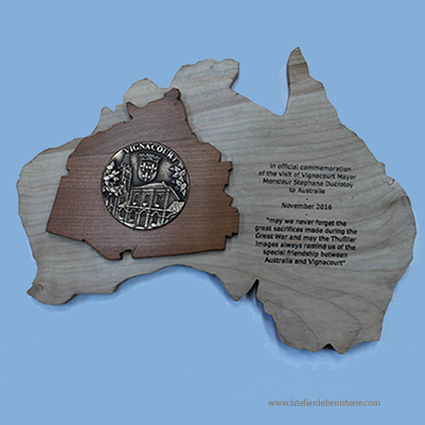 Australia and Vignacourt map woodcarved
