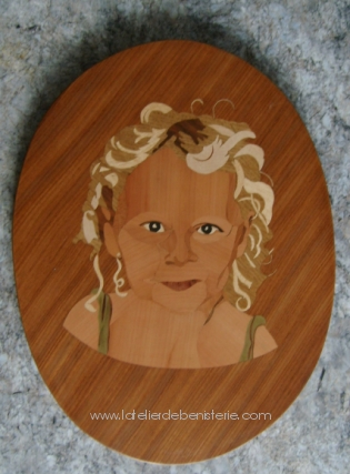 Louise portrait in marquetry